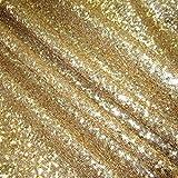 Stoff Meterware Pailletten gold Glitzer genäht Glanz edel hochwertig Neu