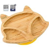 Piatto per mangiare per bambino o neonato, vassoio di alimentazione, a forma di cucciolo di volpe, in bambù naturale