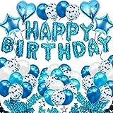 iZoeL Blå födelsedagsfest dekoration pojkar, blå grattis på födelsedagen banderoll konfetti ballong hjärta stjärna ballong pl