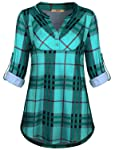 Miusey Womens Mandarin Collar Plaid Roll Sleeve V Neck Flowy Loose Tunic Blouse