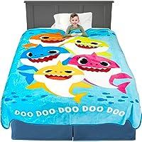 "Franco Kids Bedding Super Soft Plush Microfiber Blanket, Twin/Full Size 62"" x 90"", Baby Shark"