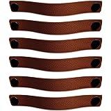 Brute Strength - Leren Handgrepen - Cognac - 6 stuks - 25 x 3 cm - incl. 3 kleuren schroeven per leren handvat voor keukenkas