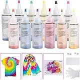 Ucradle 12 colores Tie Dye Kit, Neón Pinturas Textiles de Tela Permanentes Conjunto de Tinte Tie Tie de un Solo Paso Camisa T