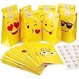 Mooklin Roam 48 stuks Emoji papieren zakken kraftpapier cadeauzakjes voor levensmiddelen met stickers voor het verpakken van