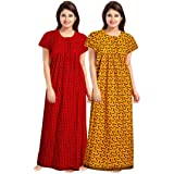 KBNBJ Women's Cotton Printed Maxi Nighty(Pack of 2)(kb(d.no 6&7)_Red & Yellow_Free Size)