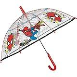 Paraguas Transparente Marvel Spiderman de Niño - Paraguas Inafntil de Burbuja Estampado el Hombre Araña - PoE Resistente Anti