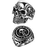 OIDEA 2 anelli in acciaio inox per uomini e ragazzi, con teschio, colore argento e nero, stile retrò, stile punk rock, da uom