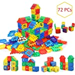 AdiChai Multi Colored 72 Pcs Mega Jumbo Happy Home House Building Blocks with Attractive Windows and Smooth Rounded Edges...