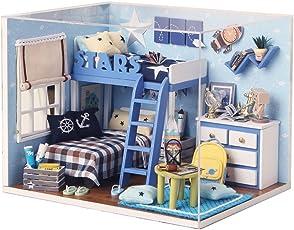Karp Wood Star Trek Starry Sky Adventure Dollhouse Miniature DIY House Kit Creative Room with Furniture & Accessories (Blue)