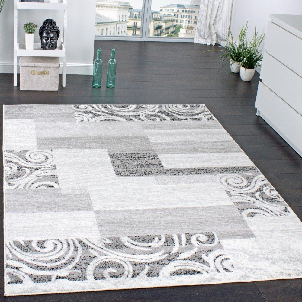 Wohnzimmerteppich grau  Designer Teppich Wohnzimmer Teppich Kurzflor Muster in Grau Creme ...