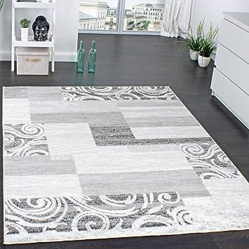 designer teppich wohnzimmer teppich kurzflor muster in grau creme ... - Creme Graues Wohnzimmer