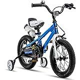 RoyalBaby Kids Bike Boys Girls Freestyle Bicycle 12 14 16 Inch with Training Wheels, 16 18 20 with Kickstand Child's Bike, Bl