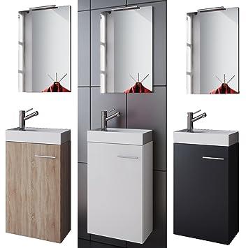 Amazon.de: VCM Badmöbel Set Gäste WC Gäste Bad Waschtischunterschrank  Spiegel Garla Weiß