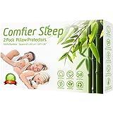 Comfier Sleep Protège-oreillers imperméables 65 x 65 cm avec Fermeture Éclair, Respirant, Anti-allergénique et 100% Bambou, L