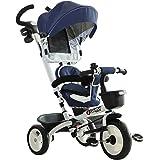 HOMCOM Triciclo Passeggino per Bambini con Maniglione Tetto Parapioggia Regolabile Rimovibile Seggiolino Girevole Cestino Str
