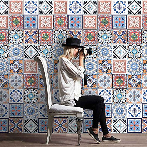 Price comparison product image Cinlla Wall Tile Stickers Waterproof Tile Stickers for Kitchen Bathroom Living Room Floor - 25pcs / roll,  8x8 Inch,  20x500 cm - DIY Peel and Stick Tile Wall Sticker Decal (Exquisite Tile)