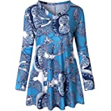 f500ed585d7b1 KUDICO T-Shirt Damen Herbst V-Ausschnitt Floral Print lässige Lange Ärmel  lose Tops