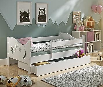 KATIDO Kinderbett Massivholz Mond Und Sterne Weiß 140x70 Oder 160x80  Matratze Schublade Lattenrost (140x70): Amazon.de: Baby