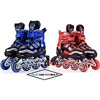 Famous Quality Aluminium Alloy Inline Skates with Adjustable Size LED Flash Light on Wheels, 5-14 Years Age (Blue)