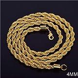 Moda collana lunga dorata 4mm corda intrecciata catena gioielleria collana regalo perfetto
