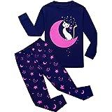 Garsumiss Pijamas para Niña Dos Piezas de Unicornio Manga Larga Invierno Pijama 2-12 Años