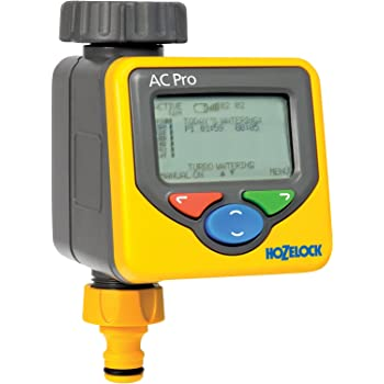 Hozelock Automatic Water Computer Timer Pro with interactive LCD Screen and 4 Program Features - Yellow and Grey