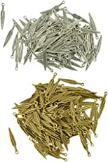 MagiDeal 200 Piece Wholesale Antique Bronze/Silver 3D Feather Metal Charms Pendants Jewelry DIY Making Earring Necklace