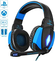 Cuffie da Gioco per PC, YINSAN Cuffie Gaming con Cavo USB Audio Jack da 3,5 mm, Cuffie Over Ear con Microfono Luce LED e Cont