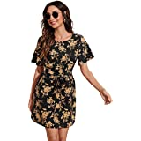 Women's Allover Floral Print Belted Dress