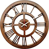 SMARTCAREWOOD-16-Inches-Round Wall Clock-Color Brown Roman Numerals - Material Wood Craft-Silent Movement Quantity: 01