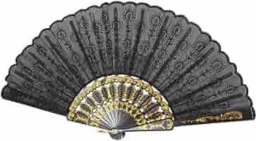 Boland 25cm Black Lace Spanish Folding Hand Fan Fancy Dress Accessory