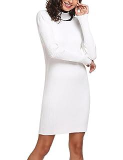 a87078cc360 Chigant Damen Winter Herbst Sweatkleid Rollkragen Strickkleid Langarm Kleid  Longpullover Gestreift Strickpullover große größen