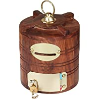 BLUESQUARE Mart Handicraft Wooden Piggy Bank for Kids and Adults Wooden Handicrafts Hut Shaped Wooden Money Box with…