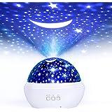 Proiettore Stelle Soffitto, FISHOAKY proiettore galassia 8 Colori, Proiettore Cielo Stellato Bambini, 360° Rotazione Led Proi