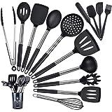 Fohil 15 Pièces Ensemble D'ustensiles de Cuisine en Silicone Noire, Ustensiles de Cuisine en Silicone Anti-Rayures,Anti-adhés