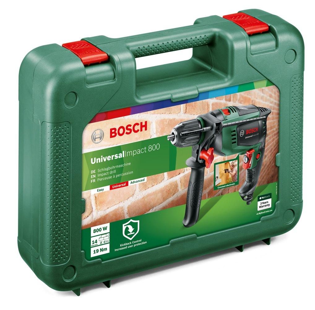 Bosch Universal Impact 800 – Taladro percutor (800 W, empuñadura adicional, tope de profundidad, maletín)