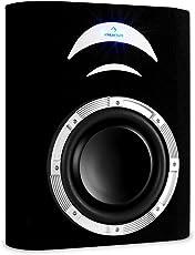 Auna CD250-4BX aktiver Subwoofer, Auto-Basslautsprecher, verstärkt (für KFZ-HiFi-Anlagen mit 500W, Subkonus 25cm, Bassreflex, LED-Beleuchtung, Antiresonanz-Gehäuse)–Schwarz