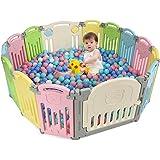 COSTWAY Grondbox baby, 14 paneel opvouwbare veiligheid speelruimte met draaibaar speelgoed, in vorm verstelbaar activiteitenc