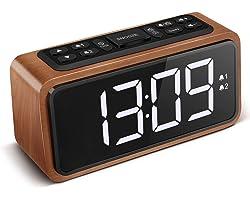 KOOSIN FM Radio Alarm Clock, Large LED Display Wood Digital Alarm Clock, Adjustable Brightness Dimmer and Snooze, Simple LED