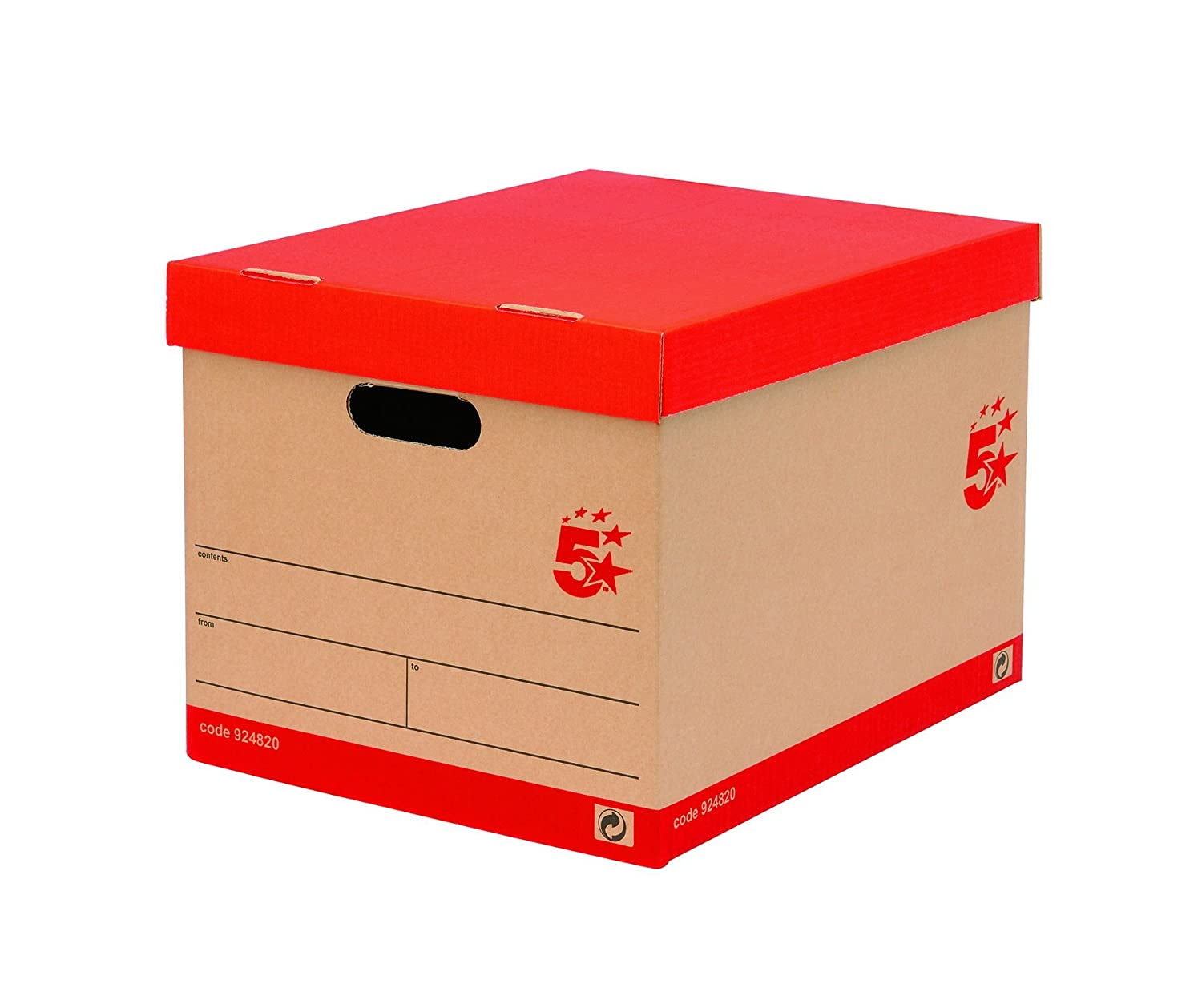 5 Star Office Storage Box For 5 A4 Lever Arch Files Red On Brown [Pack 10]:  Amazon.co.uk: Office Products