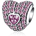 """HMILYDYK - Ciondolo / charme a forma di cuore """"Ti Amo Per Sempre"""", con cristalli in zirconia cubica e argento Sterling 925, p"""