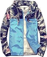 H&E Men Cargo Contrast Color Hoody Casual Floral Print Windproof Coat Jacket