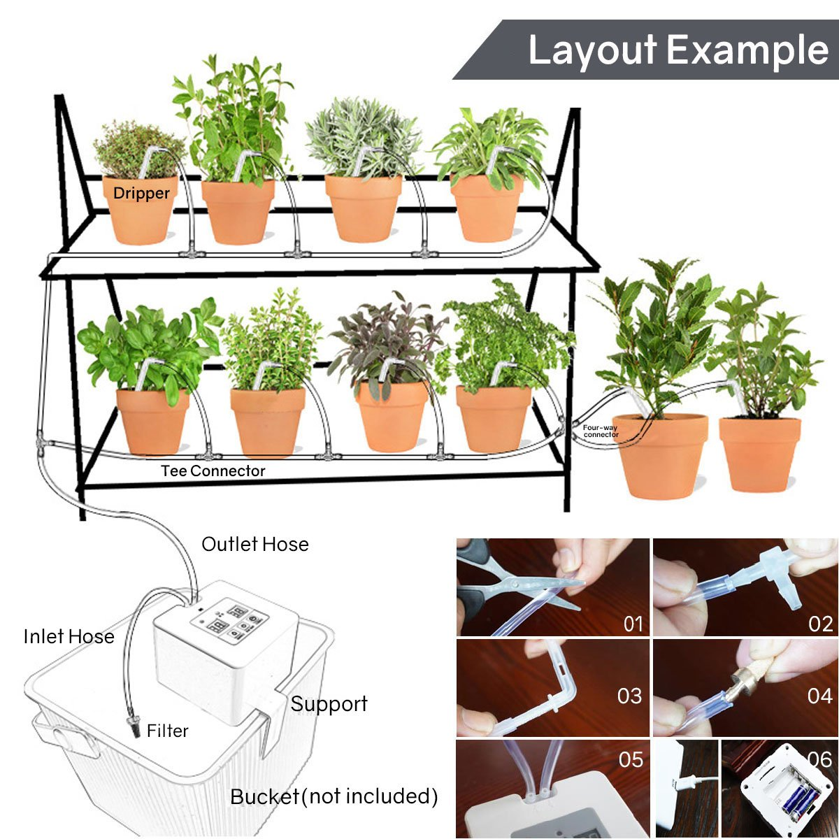 Diy Micro Automatic Drip Irrigation Kit Self Watering System With 30 Day Electronic Water Timer 5v Usb Charge For 10 Indoor Potted Plants 1 4