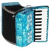 Dilwe Accordéon, 22 clés 8 Basses accordéon Piano Instrument de Musique avec Sangles Gants Chiffon Propre pour étudiants débutants