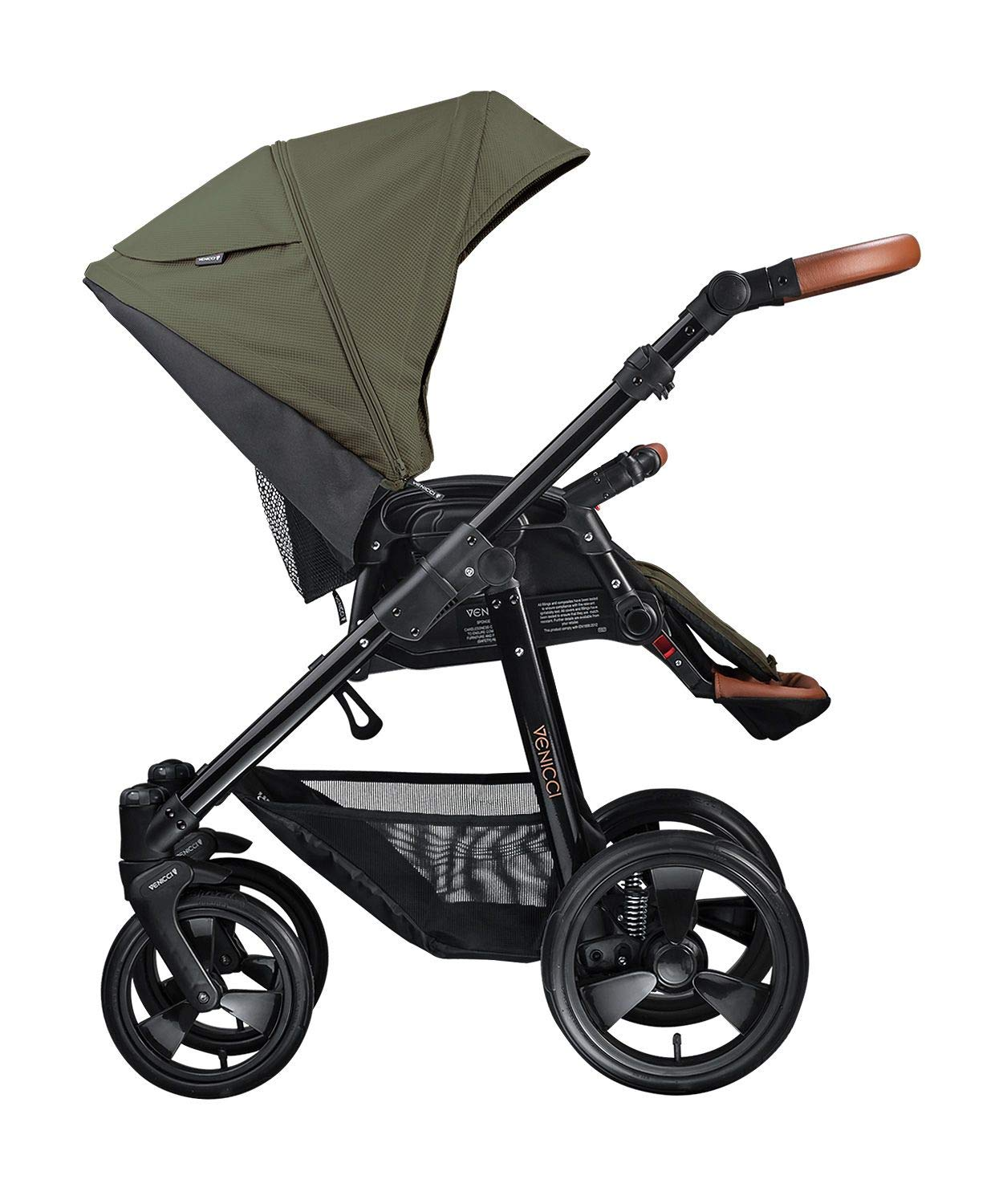Venicci Gusto 2-in-1 Travel System - Green - with Carrycot + Changing Bag + Footmuff + Raincover + Mosquito Net + 5-Point Harness and UV 50+ Fabric + Cup Holder Venicci 2-in-1 Pram and Pushchair with custom travel options Suitable for your baby from birth until approximately 36 months 5-point harness to enhance the safety of your child 3