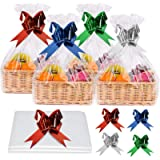 WXJ13 12pcs Cellophane Basket Bags with 12pcs Extra Large Pull Bows Sets Easter Clear Hamper Bags Cellophane Wrap Bags…