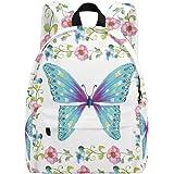 Mariposa pintada a mano con marco floral para niños Mochilas mochila estudiante escuela libro bolsas Multicolor Multi1 Talla
