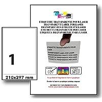 Stickers Transparents BRILLANT pour imprimante laser. 10 planches A4, autocollant, étiquette synthétique plastique…