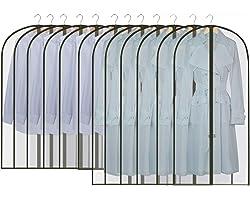 GoMaihe 12 Stück Kleidersack Anzug Lange, 60 x 120/100cm Schwarz Rand Transparent Anzugtasche Kleidersäcke, Kleiderhülle Anzu