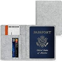 kwmobile Reisepass Hülle mit Kartenfächern - Filz Ausweishülle Passhülle Kartenetui Tasche - Reisepasshülle in Hellgrau